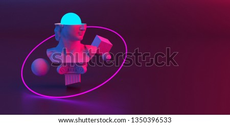 3d-illustration of an abstract composition of sculpture and primitive objects stock photo