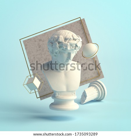 3d-illustration of an abstract composition of sculpture and primitive objects. Bust of Antinous stock photo