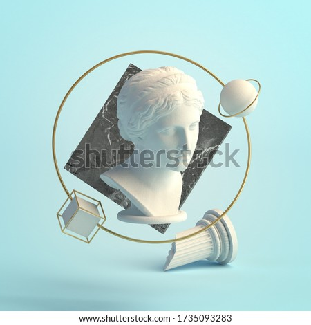 3d-illustration of an abstract composition of sculpture and primitive objects. Bust of Nymph