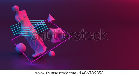 3d-illustration of an abstract composition of Venus sculpture and primitive objects stock photo