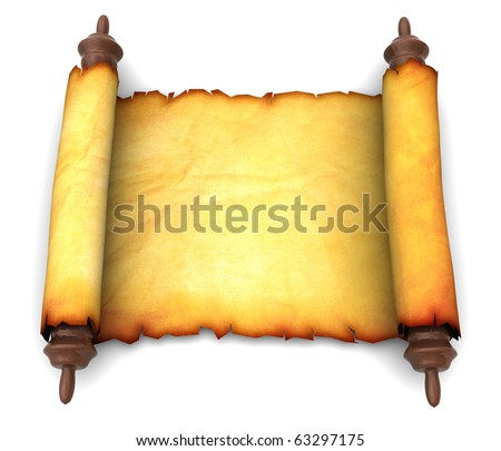3d illustration of an ancient scroll over white background