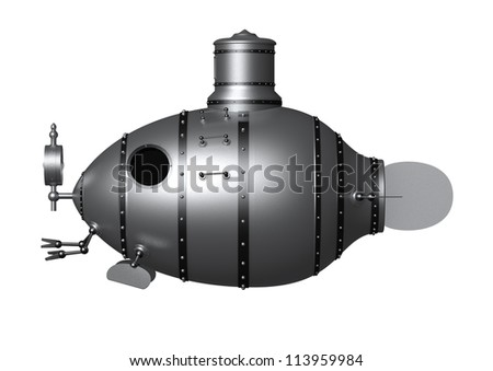 3d illustration of an ancient submarine