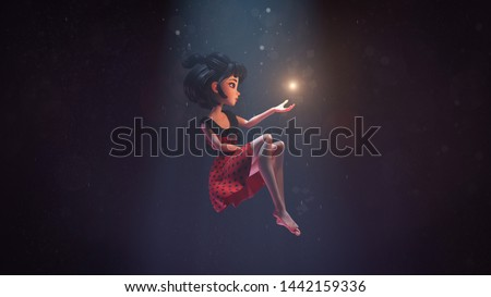 3d illustration of an asian girl sitting in the air in deep space with stars. Young cartoon woman floating in the air. Girl in the dark extends hand to the shining star. Space art. Deep dream concept.