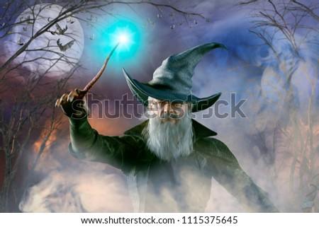 3D Illustration of an elderly the wizard Merlin Сток-фото ©