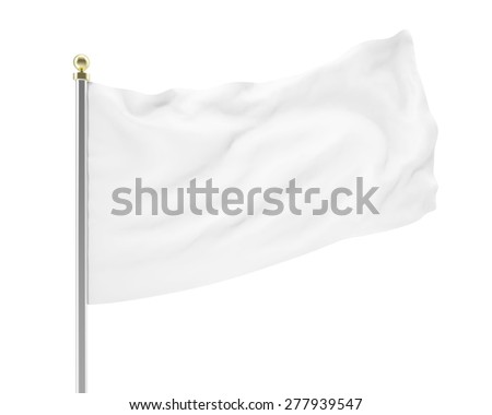 3d illustration of an empty white flag developing in the wind isolated on white background. High-resolution image #277939547