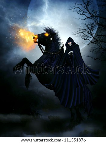 Stock Photo 3d illustration of an evil skeleton wearing a dark blue hooded cloak and riding a black stallion with fire eyes and fire shooting out his mouth.  The background is a big moon and spooky trees.