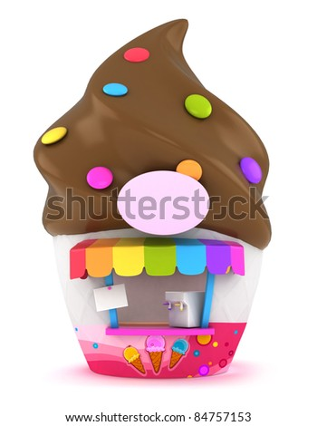 3D Illustration of an Funky Ice Cream Store