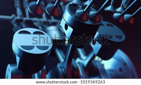 3d illustration of an internal combustion engine. Engine parts, crankshaft, pistons, fuel supply system. V6 engine pistons with crankshaft on a black background. Illustration of car engine inside.