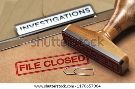 3D illustration of an investigation file with a rubber stamp and the word file closed. Concept of unsolved investigations