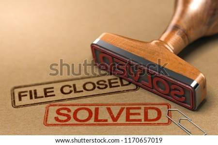 3D illustration of an investigation file with a rubber stamp and the words file closed and solved. Concept of successful police investigations