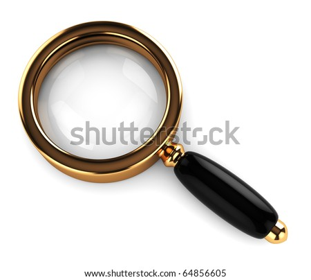 3d illustration of an magnify glass over white background