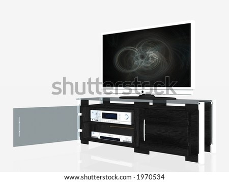 3D illustration of an media center, plasma screen, receiver amplifier, dvd player, audio furniture. Clipping path. - stock photo