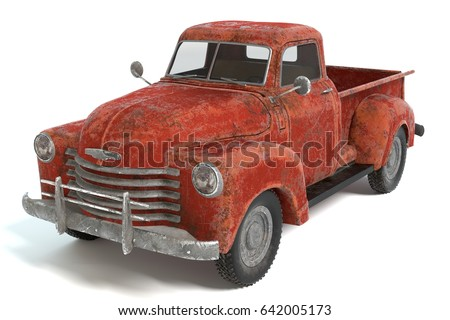 3d illustration of an old rusty pickup truck