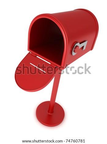 3D Illustration of an Open Empty Mailbox