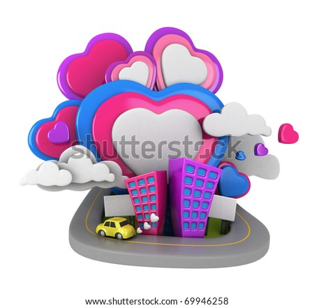 3D Illustration of an Urban Scene with Giant Heart-shaped Clouds in the Background