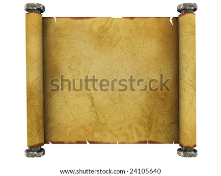 3d illustration of ancient paper scroll isolated over white background