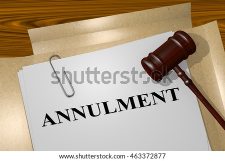 3D illustration of 'ANNULMENT' title on legal document Photo stock ©