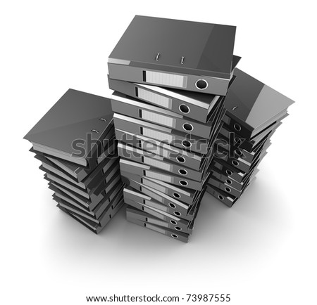 3d illustration of archive folders heap, over white background
