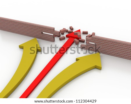 3d illustration of arrow breaking break wall, power solution concept - stock photo