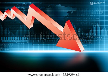 3d illustration of Arrow Graph showing business decline