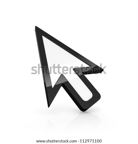 3D illustration of arrow pointer isolated on white