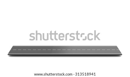 3d illustration of asphalt road piece over white background