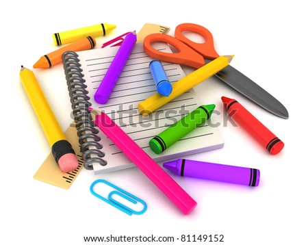 3D Illustration of Assorted School Supplies