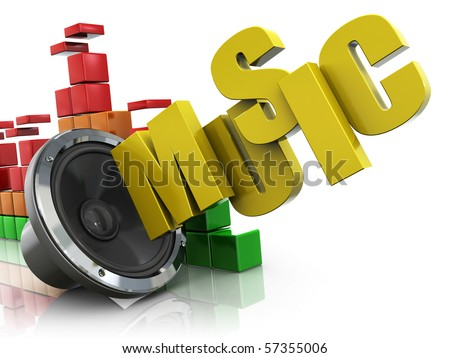 3d illustration of audio speaker and music spectrum and text 'music'