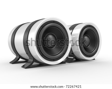 3d illustration of audio speaker on white background.