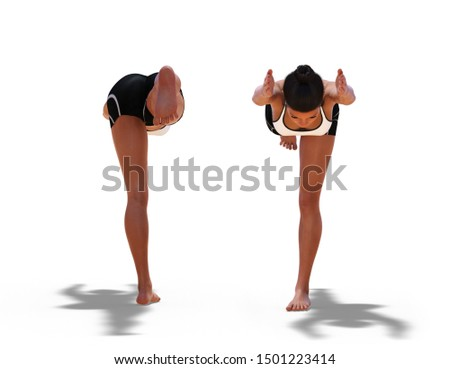 3D illustration of Back and Front Poses of a Woman in Yoga Warrior Three Pose with a white background