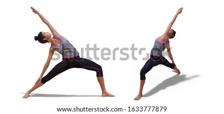 3D illustration of Back and Right Profile Poses of a virtual Woman in Yoga Reverse Warrior Pose with a white background