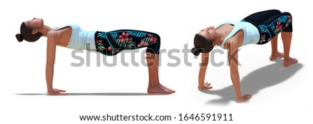 3D illustration of Back and Right Profile Poses of a virtual Woman in Yoga Table Pose with a white background