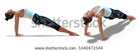 3D illustration of Back and Right Profile Poses of a virtual Woman in Yoga Upward Plank Pose with a white background