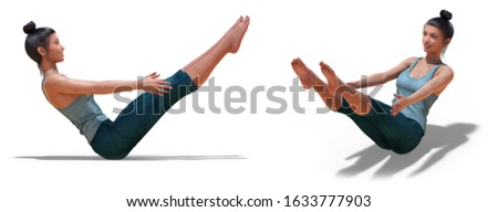 3D illustration of Back three-quarters and Right Profile Poses of a virtual Woman in Yoga Boat Pose with a white background