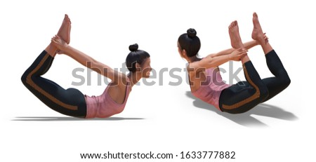 3D illustration of Back three-quarters and Right Profile Poses of a virtual Woman in Yoga Bow Pose with a white background