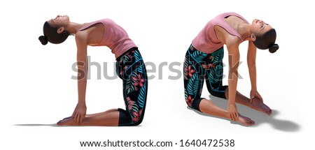 3D illustration of Back three-quarters and Right Profile Poses of a virtual Woman in Yoga Camel Pose with a white background