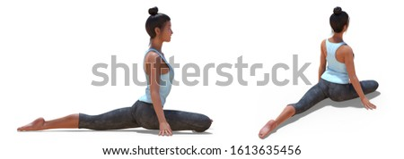 3D illustration of Back three-quarters and Right Profile Poses of a Virtual Woman in Yoga Half Pigeon Pose with a white background