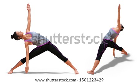 3D illustration of Back three-quarters and Right Profile Poses of a Woman in Yoga Triangle Pose with a white background
