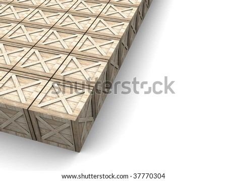 3d illustration of background with crates at left side