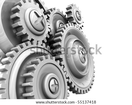 3d illustration of background with gear wheels at left side