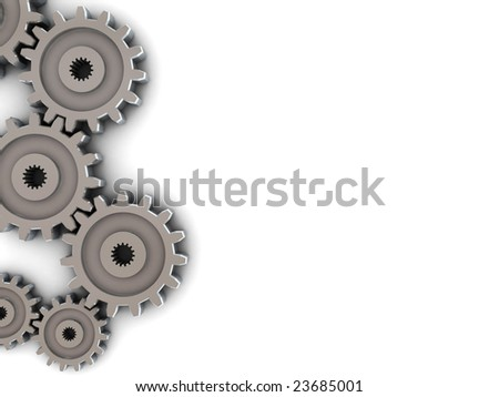 3d illustration of background with gear wheels on left side