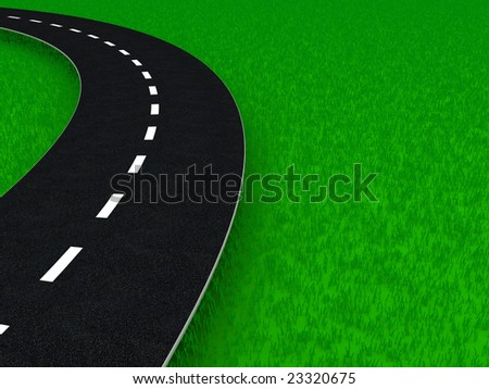 3d illustration of background with grass and road on it