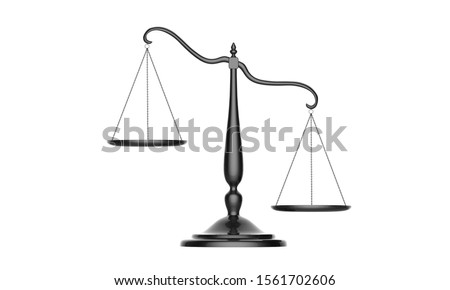 3d illustration of balance scale tipping to one side isolated on a white background