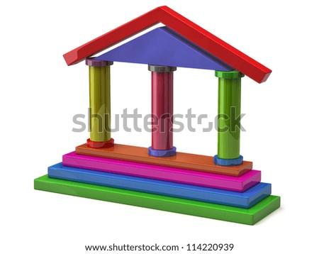 3d illustration of bank made of children blocks