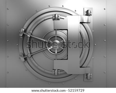 3d illustration of bank vault door, front view