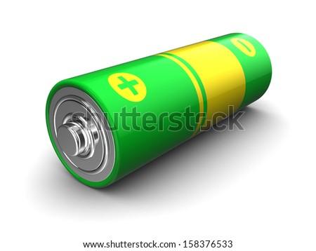 3d illustration of battery over white background