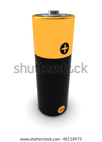 3d illustration of battery stand over white background