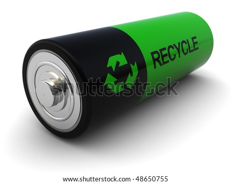 3d illustration of battery with 'recycle' sign on it