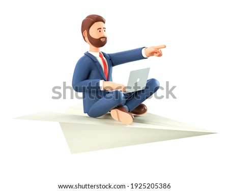 3D illustration of bearded creative man with laptop flying on a huge paper airplane. Cartoon smiling businessman in yoga lotus position pointing forward with hand, isolated on white background.