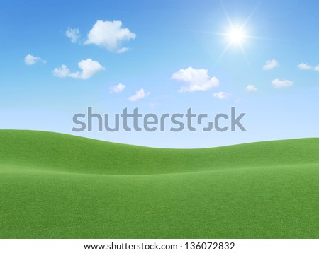 3d Illustration of Beautiful Landscape with Clouds and Sun